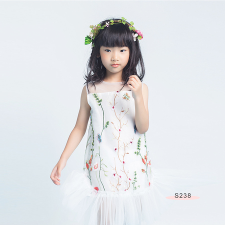 S238 Floral Emb Dress White