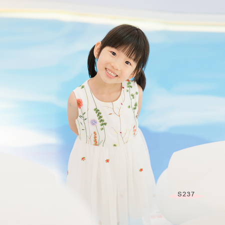 S237 Floral Emb Dress White
