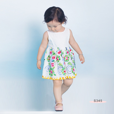 S345 Floral EMB baby Dress White