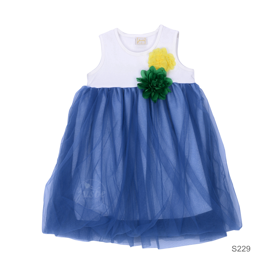 S229 Green flower Dress Blue