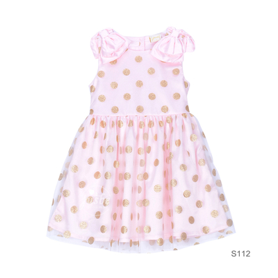 S112 Gold Dots Dress with Knots pink