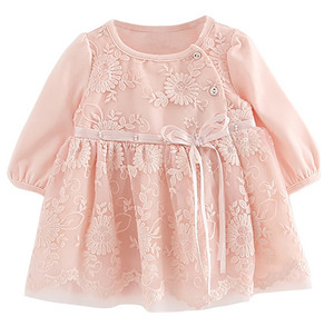 B1704P Baby full lace dress pink