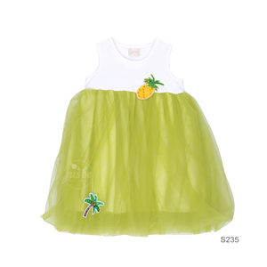 S235 Pineapple Mesh Dress Green