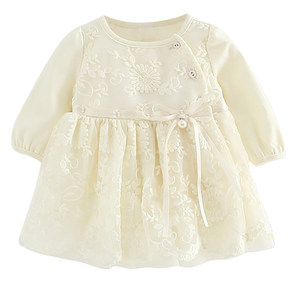B1704P Baby full lace dress yellow