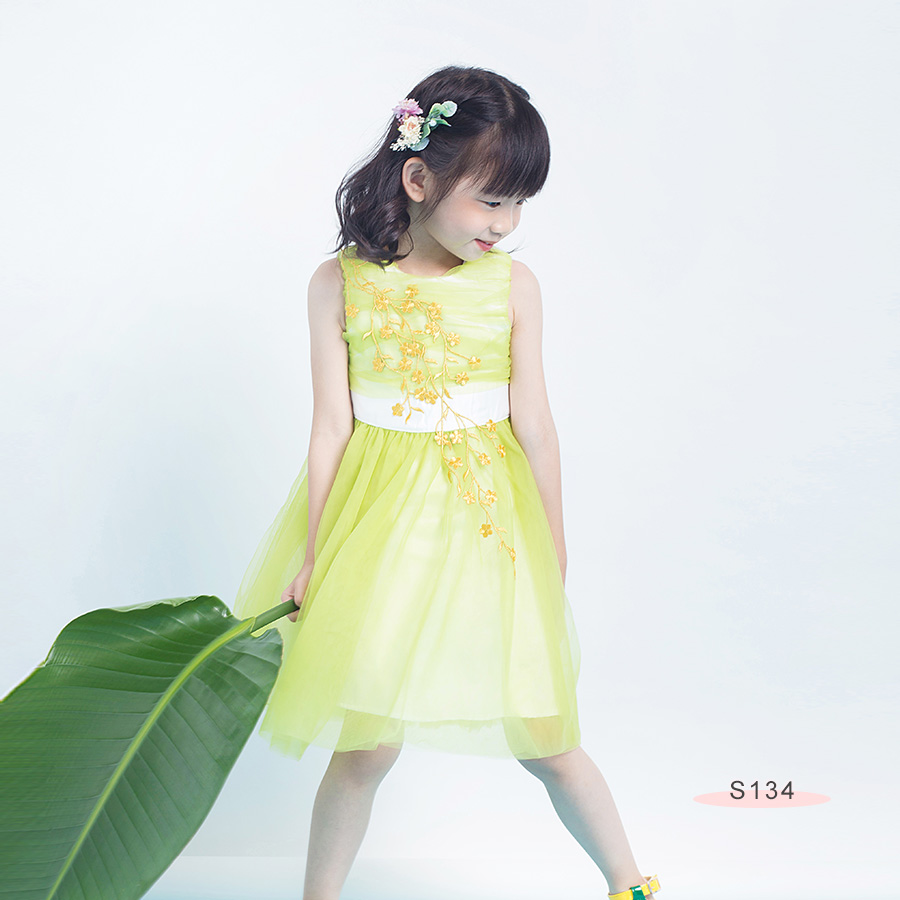 S134 Golden Floral Emb Mesh Dress Green