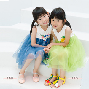 S228 Bird Emb Dress Blue