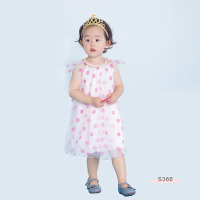 S366 Gold Dots Dress Pink