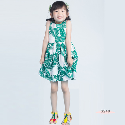 S240 Leaf Printing Dress Green