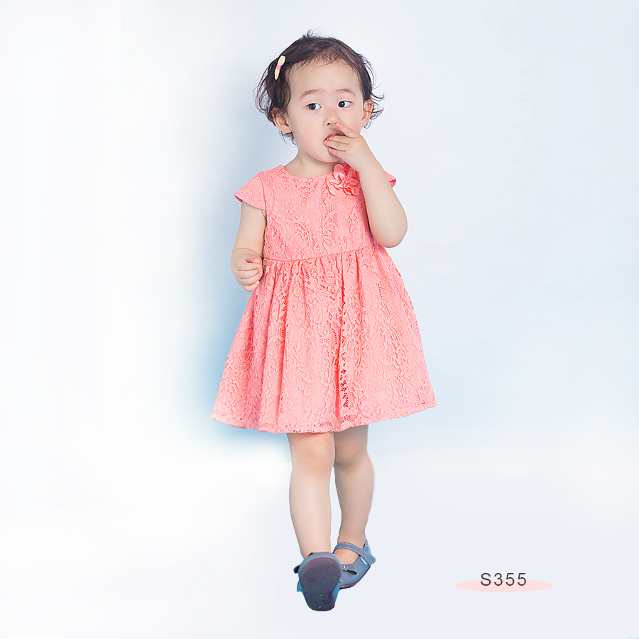 S355 Lace Dress coral Pink